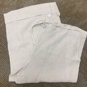 Eskandar Linen Ivory Capri Pants